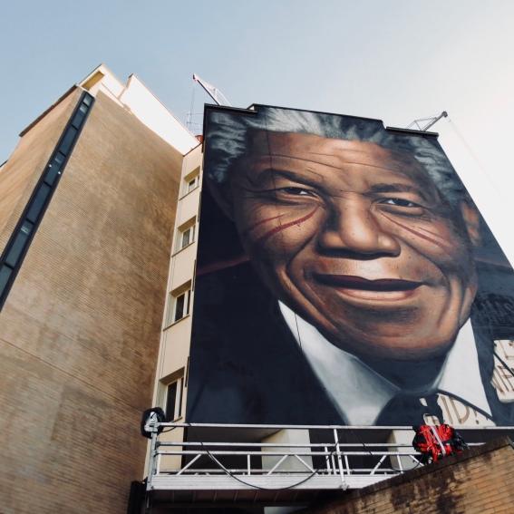Murales di Jorit per i cento anni di Nelson Mandela, Piazza Leopoldo, Firenze